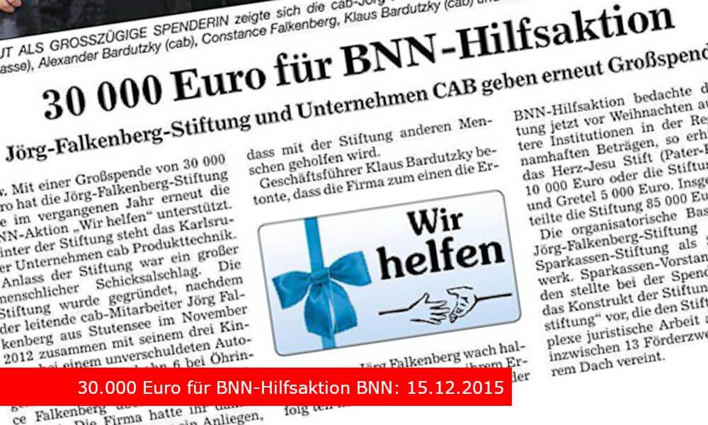 """""""30.000 Euro für BNN-Hilfsaktion"""" BNN: 15.12.2015"""