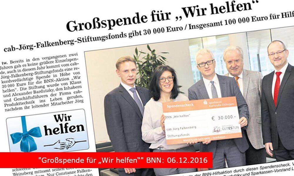 """""""Großspende für """"Wir helfen"""""""" BNN: 06.12.2016"""