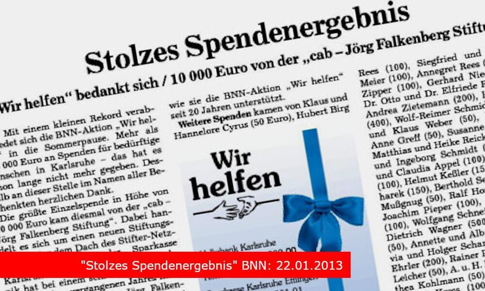 """Stolzes Spendenergebnis"" BNN: 22.01.2013"